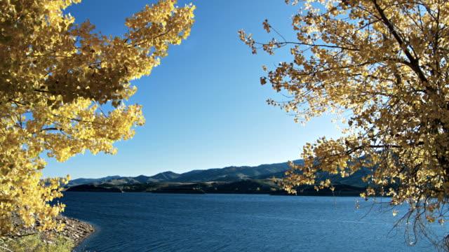 Adembenemend uitzicht op de rivier via de gele bomen