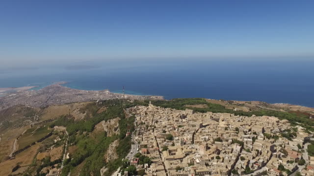 a breathtaking view of the hilltop town of erice in sicily, italy - sicily stock videos and b-roll footage