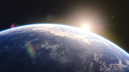 Breathtaking View of the Planet. Rising Sun Illuminates Our Blue Planet's Clouds, Oceans and Peaceful Cities. Scientifically Accurate 3D Graphical Animation