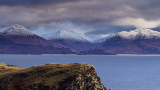 breathtaking winter scenery on isle of skye - time lapse - scottish highlands stock videos and b-roll footage
