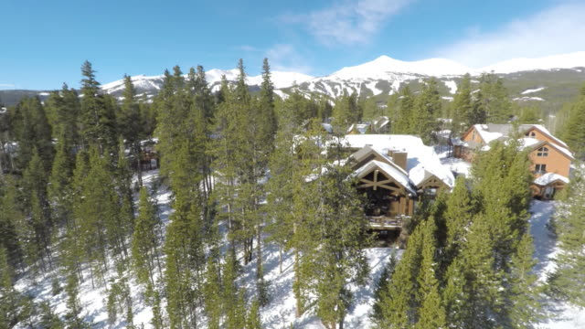 breckenridge winter drone flight - tourist resort stock videos and b-roll footage