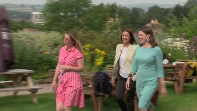 brecon and radnorshire by-election: jo swinson and jane dodds celebrate with supporters; wales: brecon: ext liberal democrat supporters celebrating /... - 中央ウェールズ点の映像素材/bロール