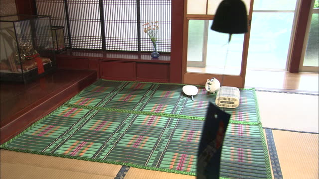 a breeze blows through the open door of a japanese home. - tatami mat stock videos and b-roll footage