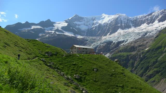 Bäregg Mountain Lodge and Fiescherhorn, Grindelwald, Bernese Oberland, Canton of Bern, Switzerland