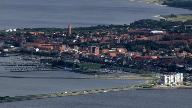 bremdal and struer  - aerial view - central jutland,  struer kommune,  denmark - musical instrument bridge stock videos & royalty-free footage