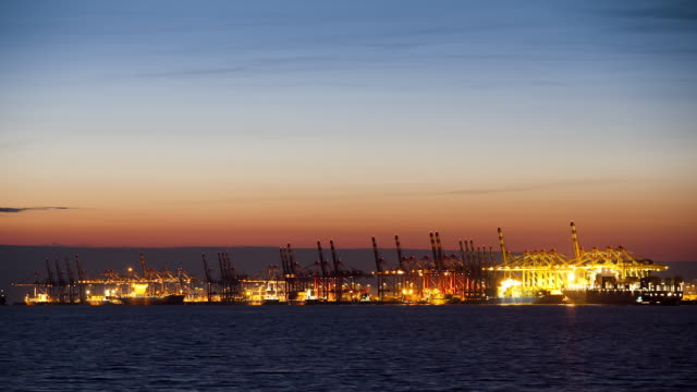 WS T/L Bremerhaven Container Terminal at dusk / Bremerhaven, Bremen, Germany