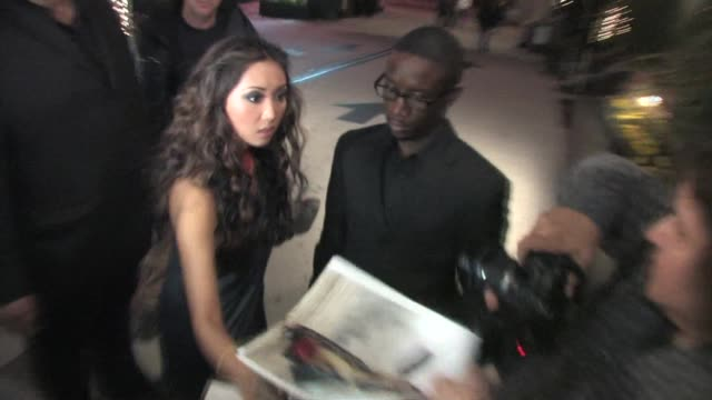 brenda song trace cyrus arrive at the roosevelt hotel in hollywood at the celebrity sightings in los angeles at los angeles ca - brenda song stock videos & royalty-free footage