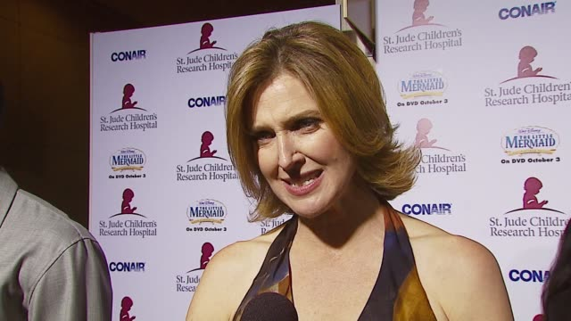 Brenda Strong on why she supports this cause her respect for Marlo Thomas and if she believes in mermaids at the Runway For Life Benefiting St Jude...