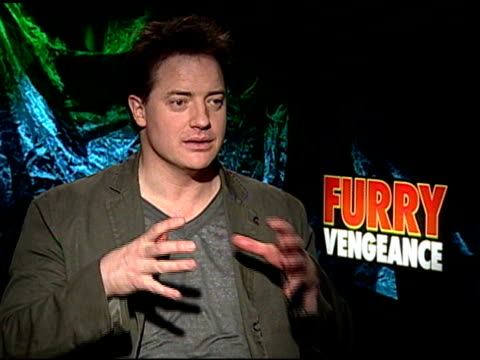 brendan fraser on working with fake animals at the 'furry vengeance' junket at los angeles ca - working animals stock videos & royalty-free footage