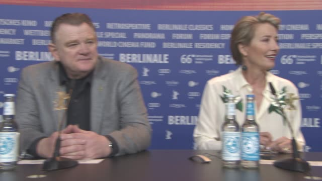 brendan gleeson emma thompson daniel bruhl at 'alone in berlin' press conference 66th berlin international film festival at grand hyatt hotel on... - emma thompson stock videos and b-roll footage