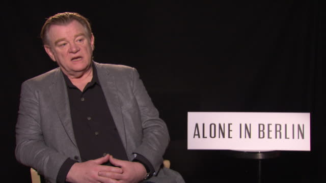 interview brendan gleeson on his character and on working with emma thompson at 'alone in berlin' interviews 66th berlin international film festival... - emma thompson stock videos and b-roll footage