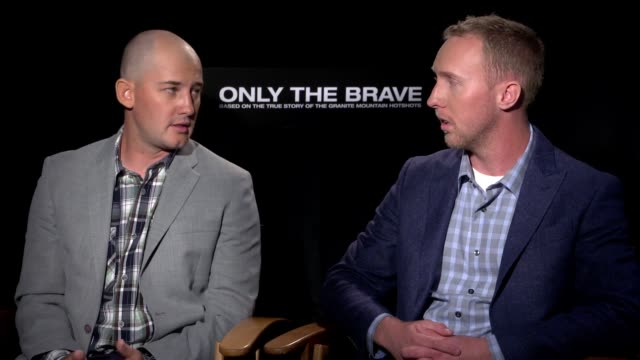 interview brendan mcdonough and pat mccarty on their own experiences working with the actors and how they trained them put them through training in... - only the brave 2017 film stock videos & royalty-free footage