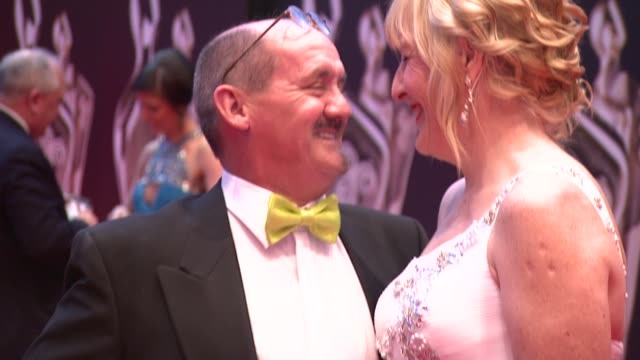 brendan o'carroll and jennifer gibney at the iftas at convention centre dublin, ireland on february 11th 2012 - irish film and television awards stock videos & royalty-free footage