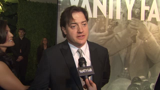 brendon fraser at the 2011 vanity fair oscar party arrivals at hollywood ca - vanity fair oscar party stock videos & royalty-free footage