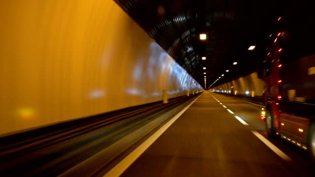 Brenner motorway with tunnel at night, Bolzano, Trentino-Alto Adige, Italy