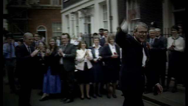 brentford prepare for season in the championship bsp100492015 then prime minister john major mp applauded after winning general election major waving... - ジョン メイジャー点の映像素材/bロール