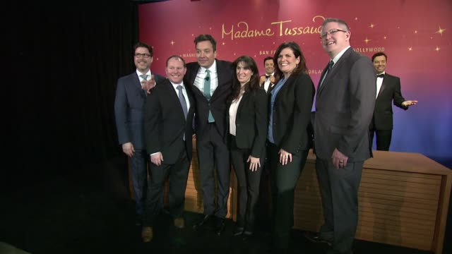 bret pidgeon therese alvich jimmy fallon patrick connor and members of merlin entertainment's 'merlin's magic wand' at madame tussauds and jimmy... - jimmy fallon stock videos and b-roll footage