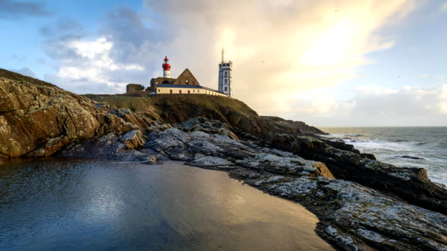 bretagne in timelapse : pointe saint-mathieu, finistère - france stock videos & royalty-free footage