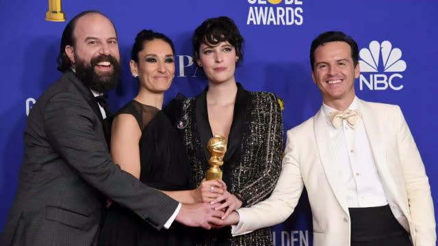 vídeos y material grabado en eventos de stock de brett gelman sian clifford phoebe wallerbridge and andrew scott winners of best television series musical or comedy poses in the press room during... - the beverly hilton hotel