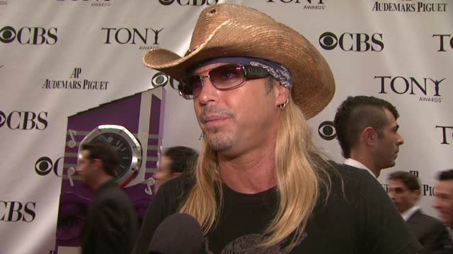 brett michaels talks about why he is at the tonys performing for the first time at radio city music hall what the energy is like at the tonys and who... - radio city music hall stock videos & royalty-free footage