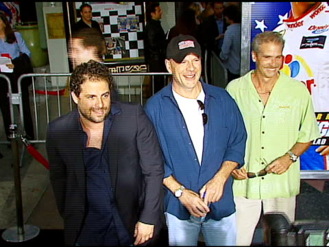 brett ratner and bruce willis at the 'talladega nights the ballad of ricky bobby' los angeles premiere at grauman's chinese theatre in hollywood... - bruce willis stock videos and b-roll footage