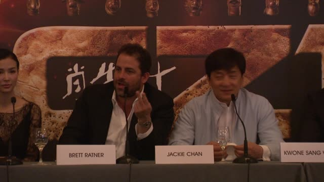 Brett Ratner on the skills of Jackie Chan on Jackie Chan being a physical actor at Chinese Zodiac Press Conference 65th Cannes Film Festival on May...