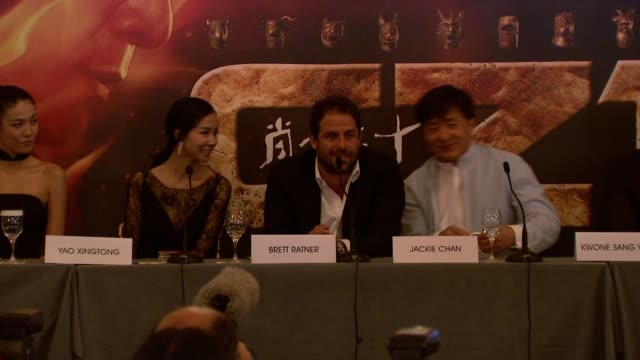 Brett Ratner on the story his role in the project working with Jackie Chan at Chinese Zodiac Press Conference 65th Cannes Film Festival on May 18...
