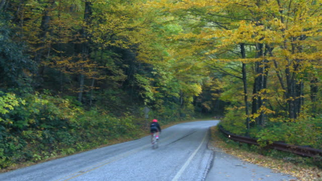 Brevard North Carolina Fall Colors with bike rider on Blue Ridge Highway near Asheville in famous scenic road drive 4K,