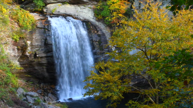 Brevard North Carolina Looking Glass Waterfall near Asheville with Fall Colors in Pisgah National Forest on Blue Ridge Parkway 4K,