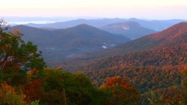 Brevard North Carolina mountains near Asheville Fall Colors Blue Ridge Highway sunrise hills ridges 4K,