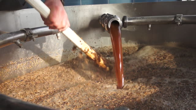 Brewer mixes ingredients in a mashù tank to make beer.