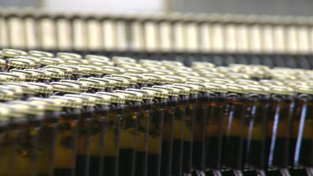 cu brewery bottling plant on conveyer belt in warsteiner ag / warstein, north rhine westphalia, germany - bierflasche stock-videos und b-roll-filmmaterial