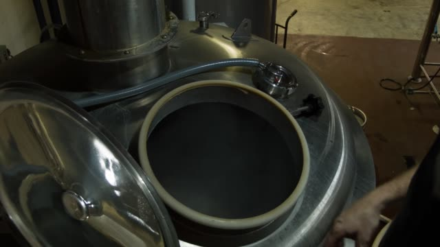 vídeos de stock, filmes e b-roll de ms brewmaster nik mebane adds hops to the boiling liquid as he produces beer at wynwood brewing company on april 25 2014 in miami florida earlier... - fermenting