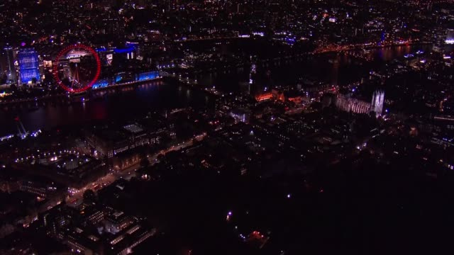 aerial views of westminster as house of lords begin marathon session to vote on brexit bill england london westminster shots of houses of parliament... - night stock videos & royalty-free footage