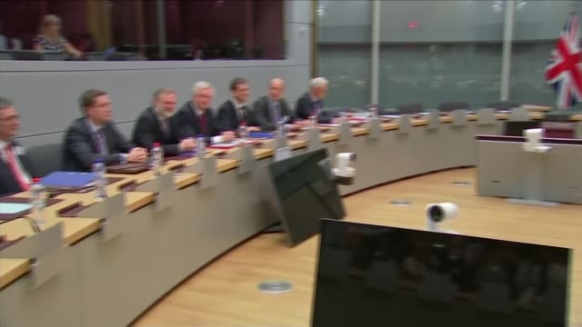 Agreement on transitional deal 'not a given' says Michel Barnier LIB / BELGIUM Brussels INT Michel Barnier and EU negotiating team seated PAN David...
