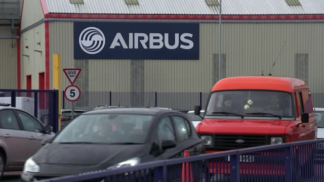 airbus warns manufacturing would be moved out of uk in event of a nodeal wales flintshire chester broughton airbus uk factory and workers / stephen... - airbus stock-videos und b-roll-filmmaterial