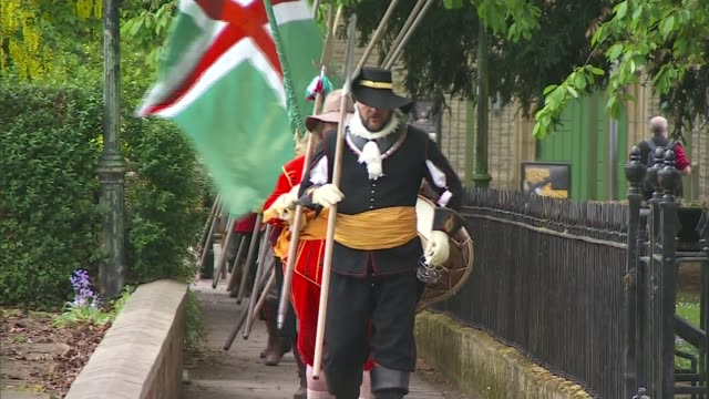 Alternative parties could be benefitting from Brexit impasse ENGLAND Newark EXT Various shots of English Civil War reenactors marching along to drum...