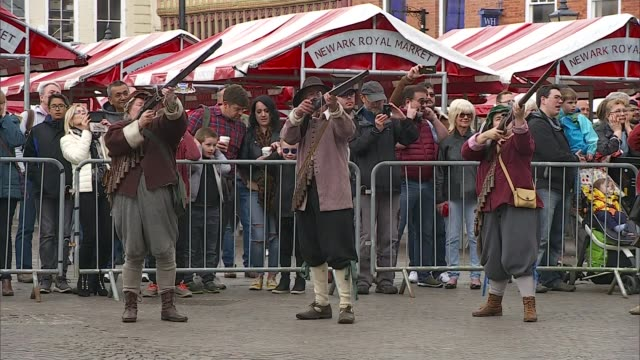Alternative parties could be benefitting from Brexit impasse Newark UK various shots of English Civil War reenactors firing muskets and marching vox...