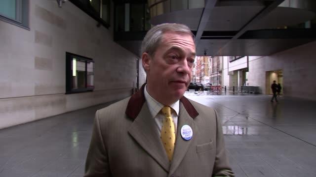 andrew marr show doorstep interviews england london westminster marylebone new broadcasting house ext nigel farage doorstep interview sot farage... - メリルボーン点の映像素材/bロール
