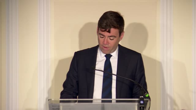 andy burnham calls for more regional devolution and a second referendum england london westminster int andy burnham speech re brexit and regional... - referendum stock videos and b-roll footage