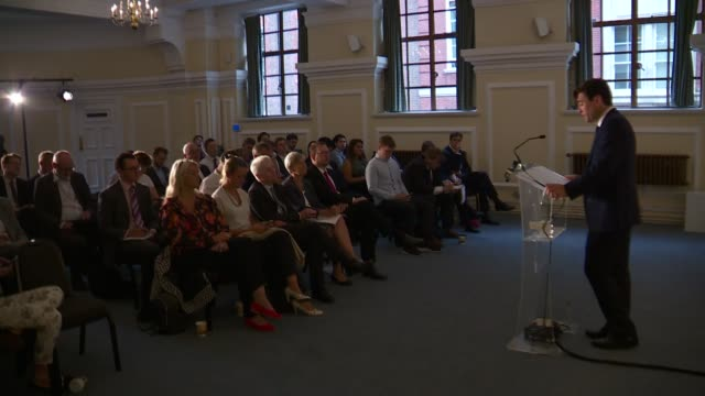 andy burnham calls for more regional devolution and a second referendum england london westminster andy burnham speech re brexit and regional... - referendum stock videos and b-roll footage