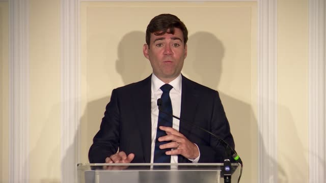 andy burnham calls for more regional devolution and a second referendum england london westminster int andy burnham question and answer session sot - referendum stock videos and b-roll footage