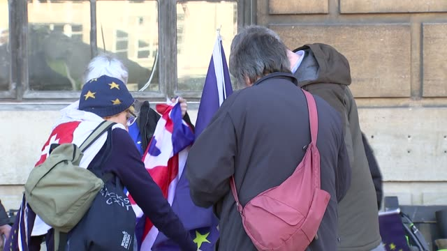 AntiBrexit campaigners in Cambridge ENGLAND Cambridge EXT Various of antiBrexit Remain supporters handing out leaflets in Cambridge town centre /...