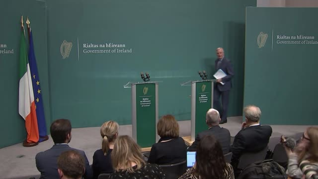 barnier says the uk can not dodge obligations by leaving with no deal during visit to dublin; ireland: dublin: int prime minister leo varadkar and eu... - premierminister stock-videos und b-roll-filmmaterial
