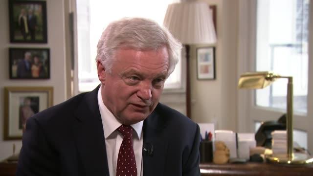boris johnson and david davis resign / cabinet reshuffle england london int david davis mp interview sot - itvイブニングニュース点の映像素材/bロール