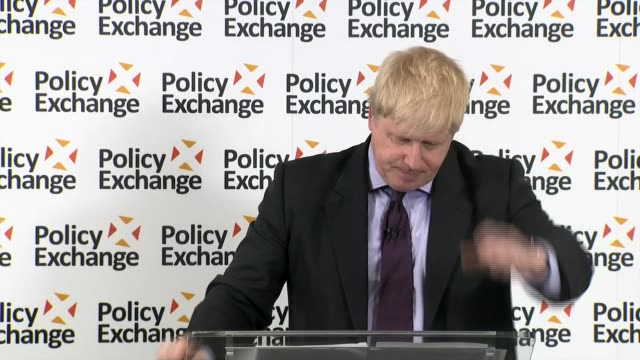 Boris Johnson delivers major speech ENGLAND London INT CUTAWAY of Boris Johnson MP speech to Policy Exchange event/ Boris Johnson Question and...