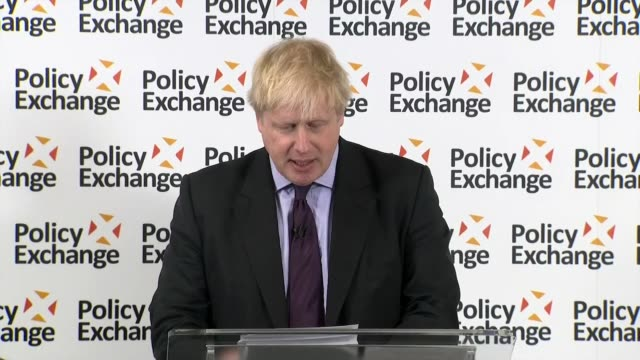 Boris Johnson delivers major speech INT Boris Johnson MP speech to Policy Exchange event SOT I fear that some people are becoming ever more...