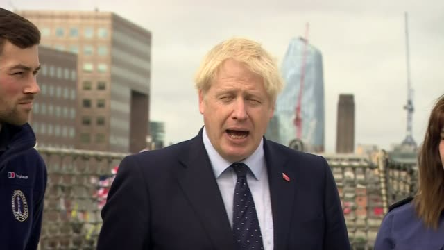 boris johnson denies lying to the queen over prorogation of parliament and plays down yellowhammer uk london river thames boris johnson mp interview... - reclining stock videos & royalty-free footage