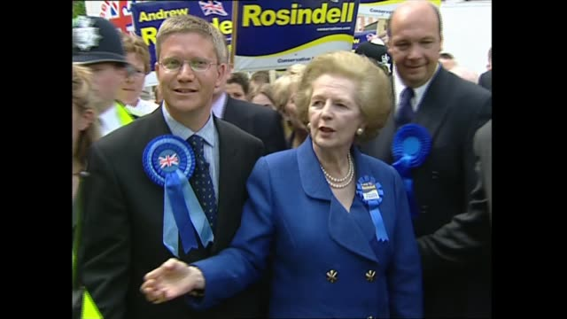 stockvideo's en b-roll-footage met boris johnson makes downing street statement ruling out asking brussels for delay lib england london romford ext margaret thatcher and andrew... - margaret thatcher