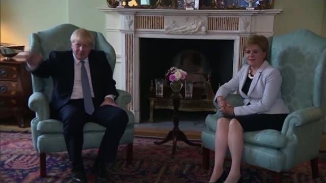 boris johnson makes first visit to scotland as prime minister; scotland: falsane: hm naval base clyde: boris johnson mp interview sot - backstop is... - nicola sturgeon stock videos & royalty-free footage